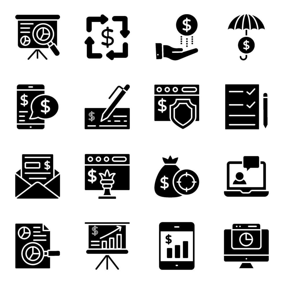 finansiella infographic fasta ikoner pack vektor