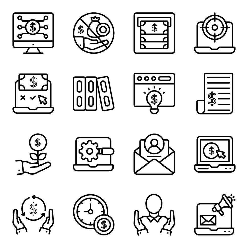 paket med fintech linjära ikoner vektor