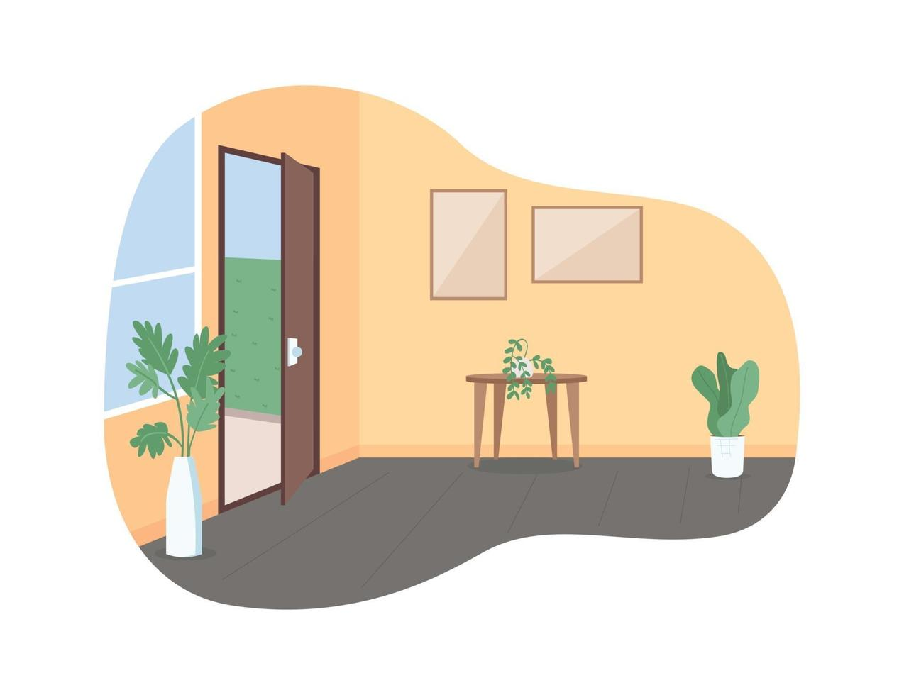 hem hall med öppen dörr 2d vektor webb banner, affisch