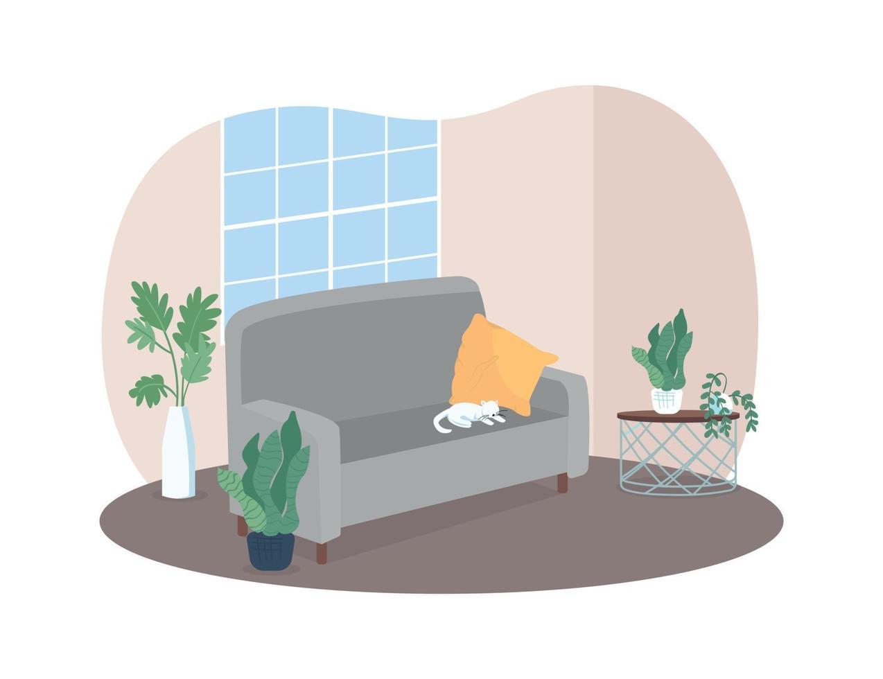 vardagsrum med grå soffa 2d vektor webb banner, affisch