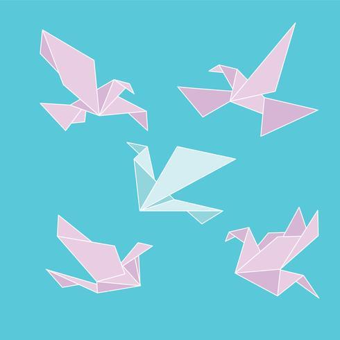 vacker duva origami uppsättning vektor