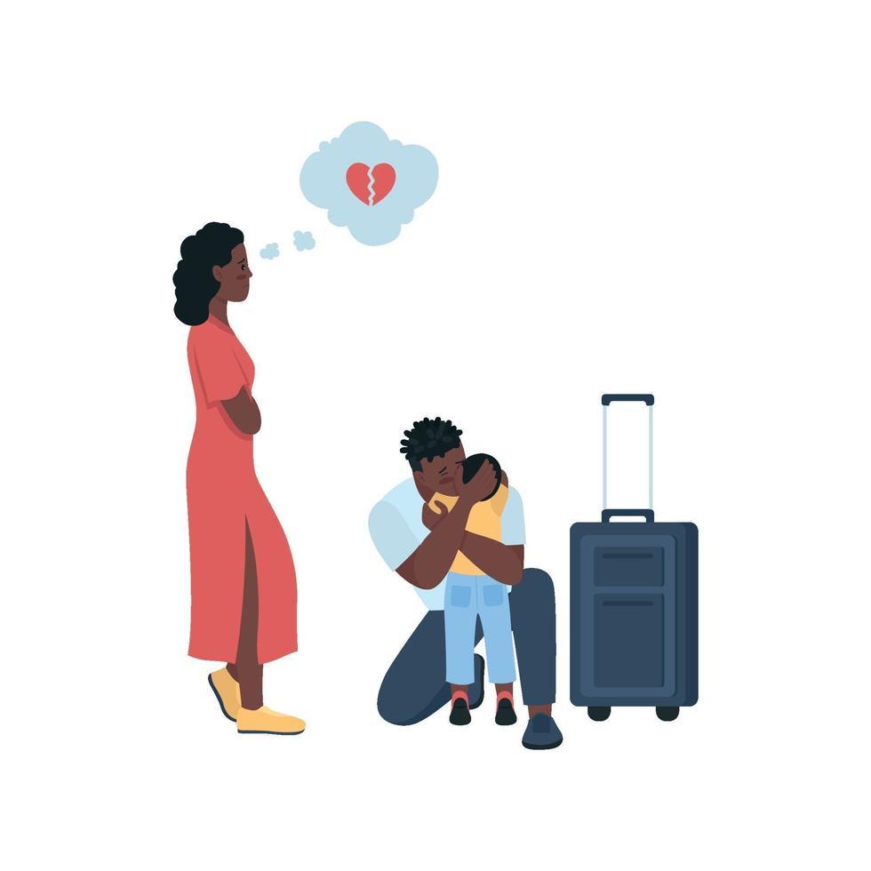 man lämnar fru och barn platt färg vektor detaljerade tecken