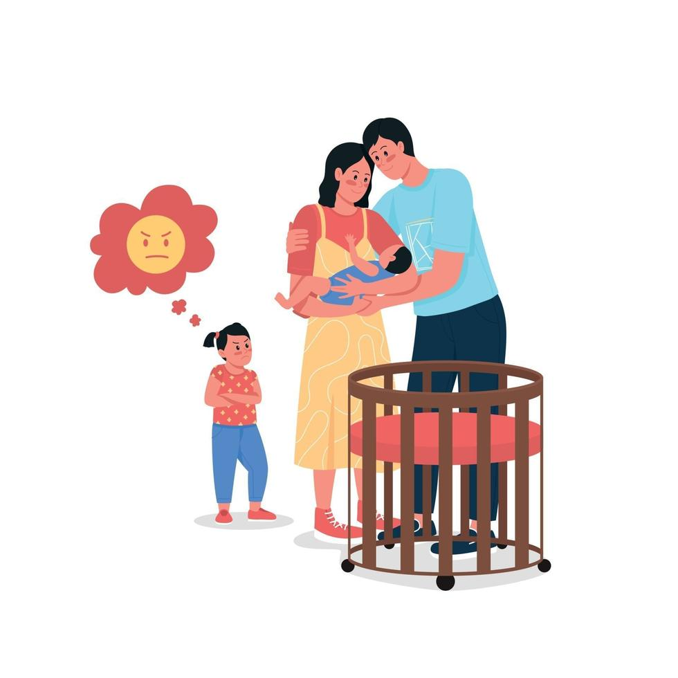 föräldrar med baby och upprörd dotter platt färg vektor detaljerade tecken