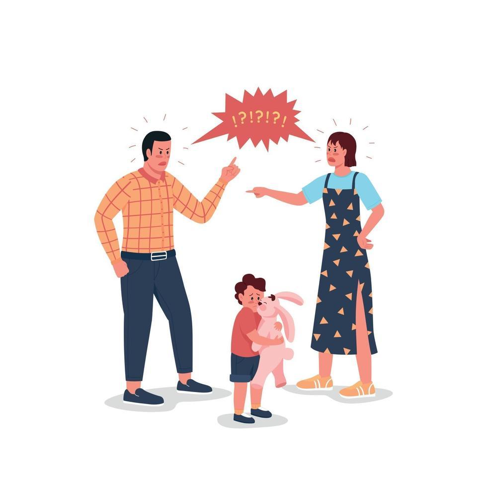 argumenterar föräldrar med rädd barn platt färg vektor detaljerade tecken