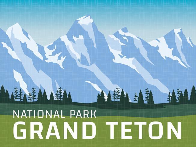 Großartiges Teton Nationalpark-Plakat vektor