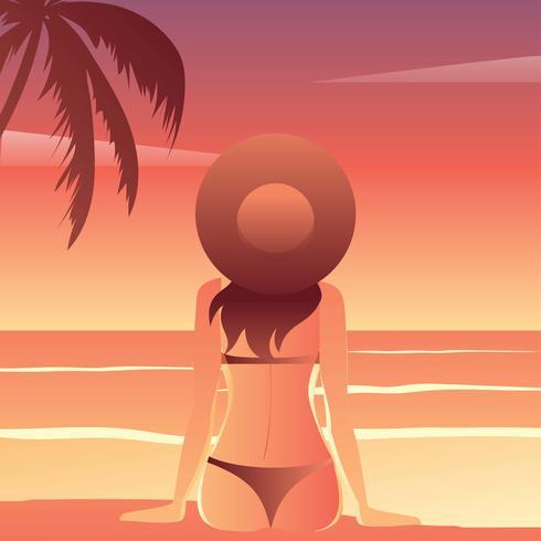 Strandgammler-Sonnenuntergang-Vektor vektor