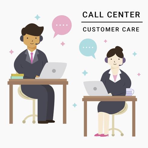 Kundendienst männlicher und weiblicher Vektor