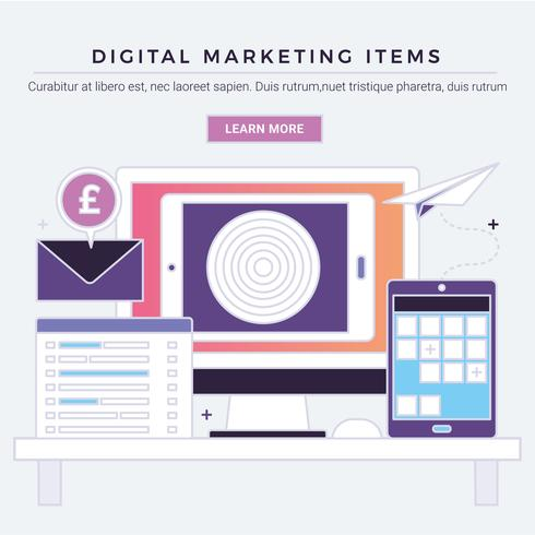 Vektor-Digital-Marketing-Einzelteile vektor