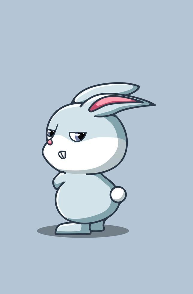söt arg baby kanin tecknad illustration vektor