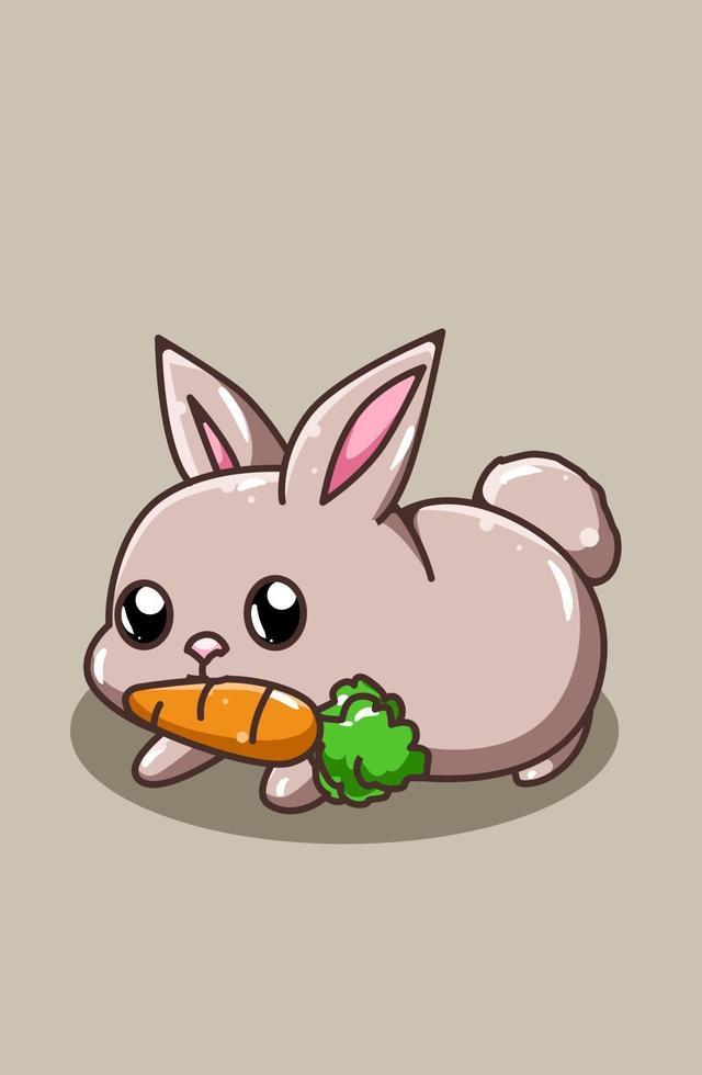 en söt och glad baby kanin ger morot tecknad illustration vektor