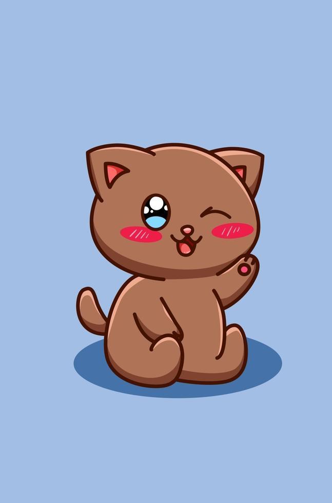 söt och glad brun katt tecknad illustration vektor