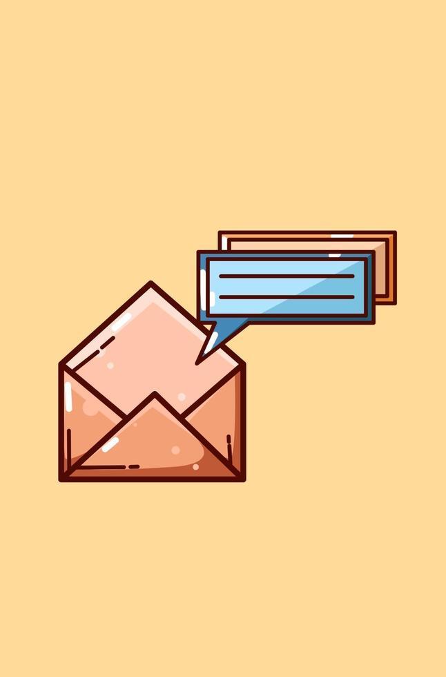 ikon chatt anmälan tecknad illustration vektor