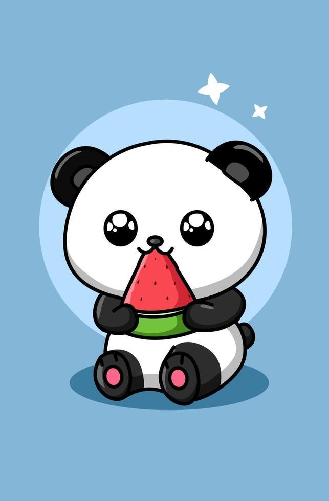 söt panda äter vattenmelon djur tecknad illustration vektor