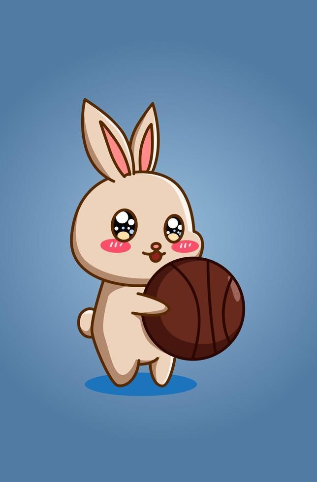söt och rolig kanin med basket djur tecknad vektor