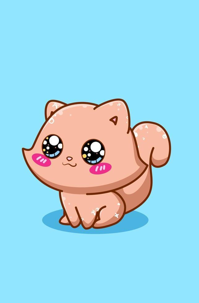 söt och glad liten brun katt tecknad illustration vektor