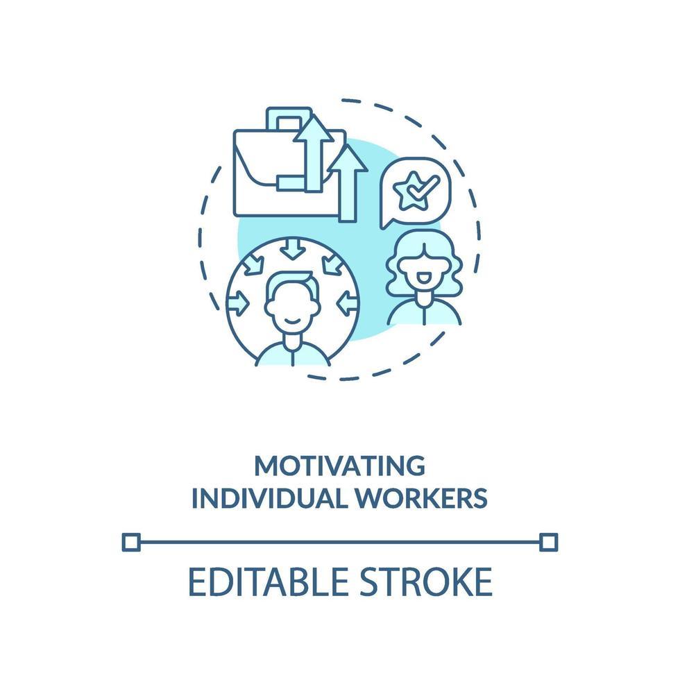 motivierende einzelne Arbeiter Konzeptikone vektor