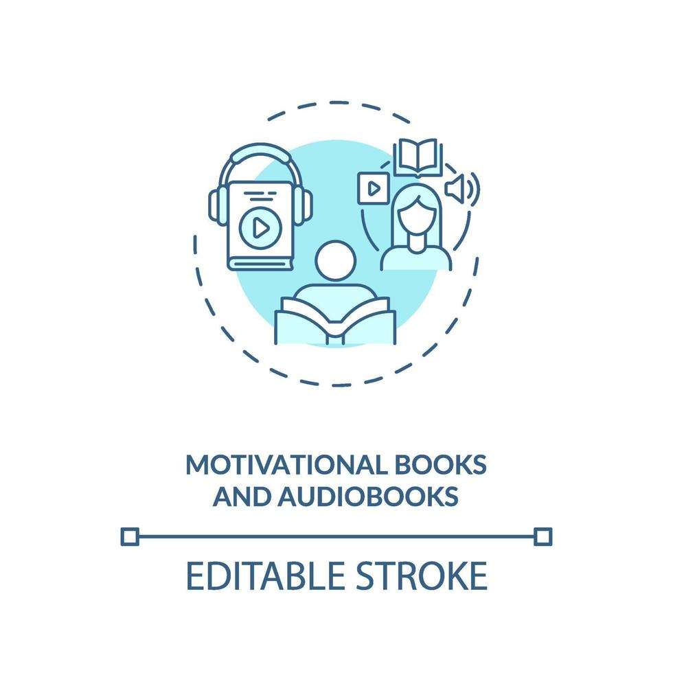 Motivationsbücher und Hörbuch-Konzeptsymbol vektor