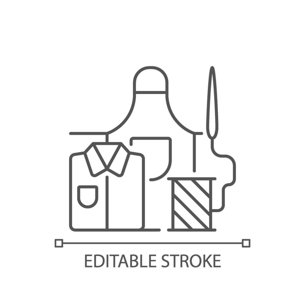 Arbeitskleidung Reparatur lineares Symbol vektor