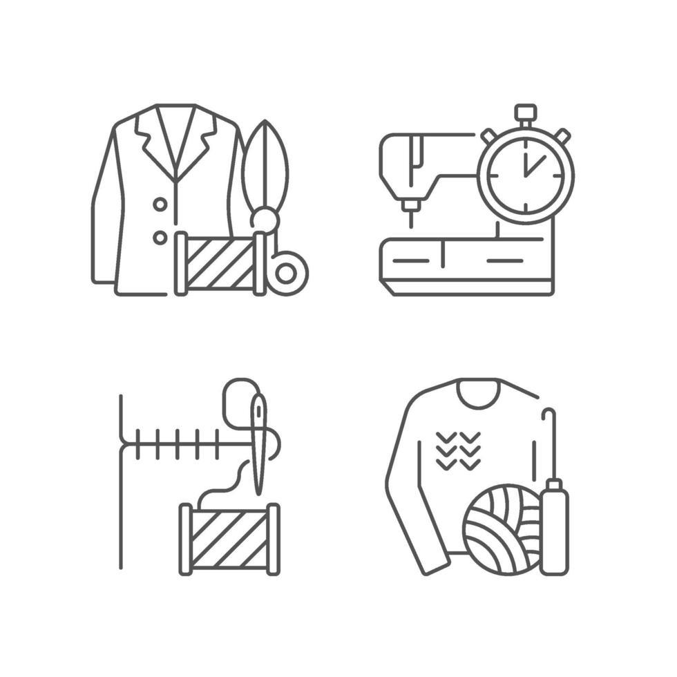 Outfit Reparaturservice lineare Symbole gesetzt vektor