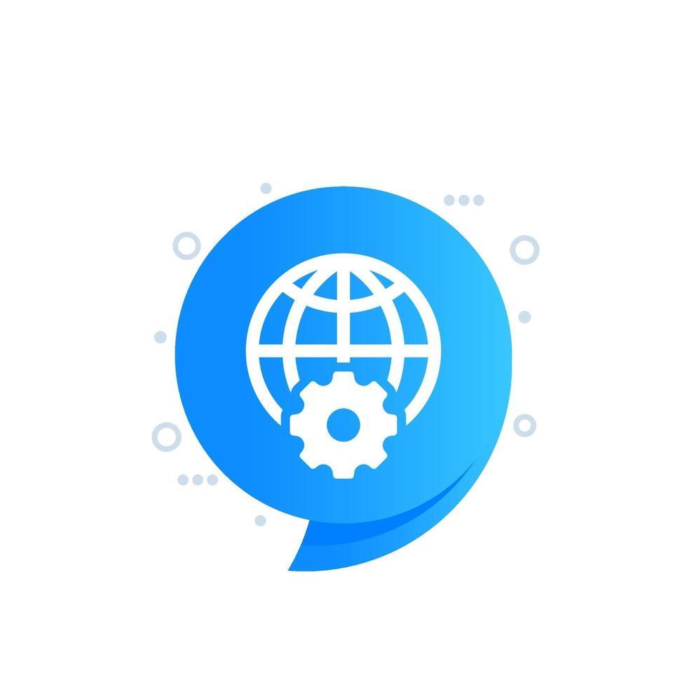 världen och kugghjulsikonen för webben vektor