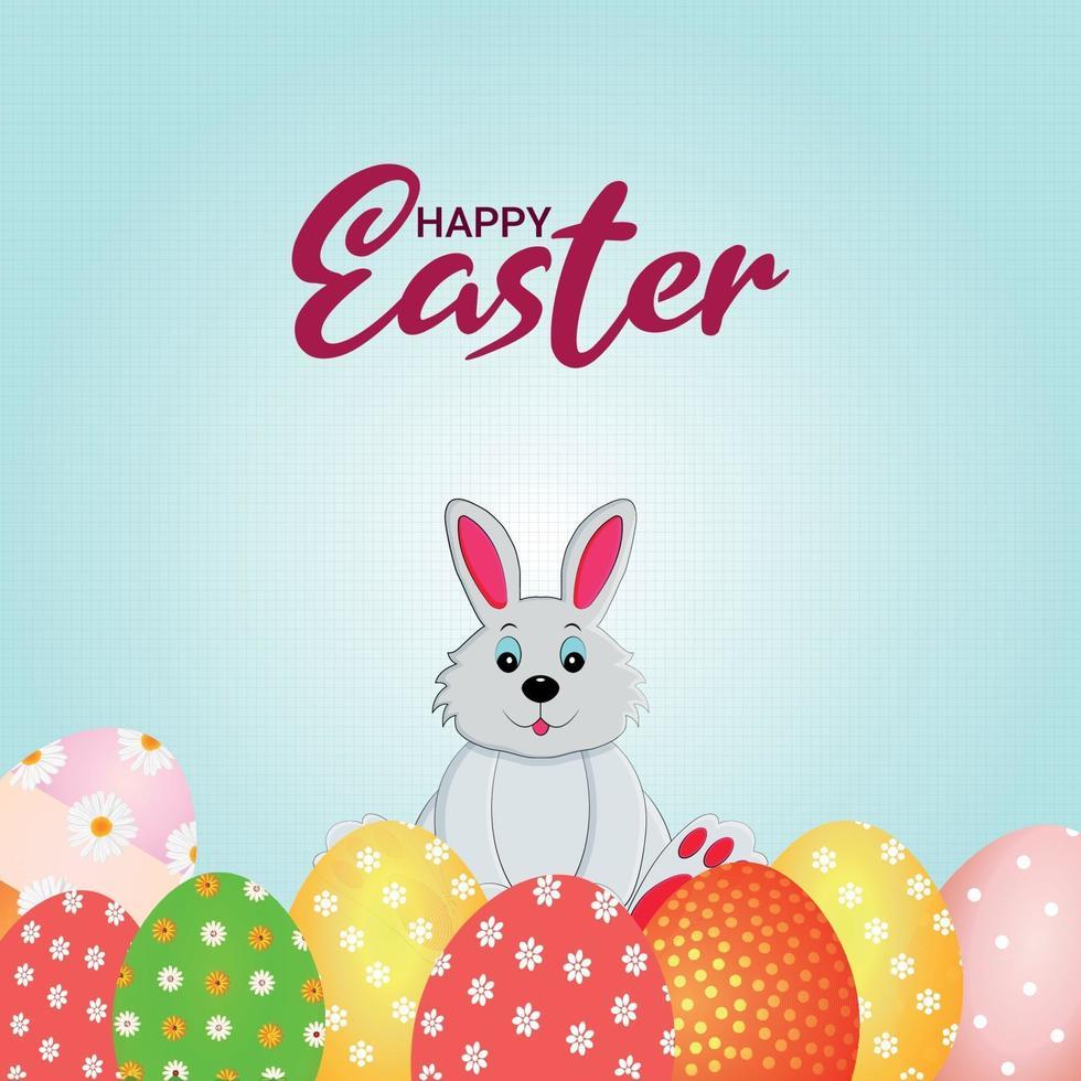 lyckligt påskhälsningskort med påskägg och kanin vektor
