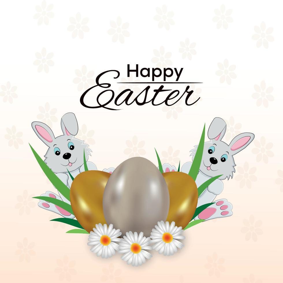Happy Easter Day Grußkarte und Osterhase und Eier vektor