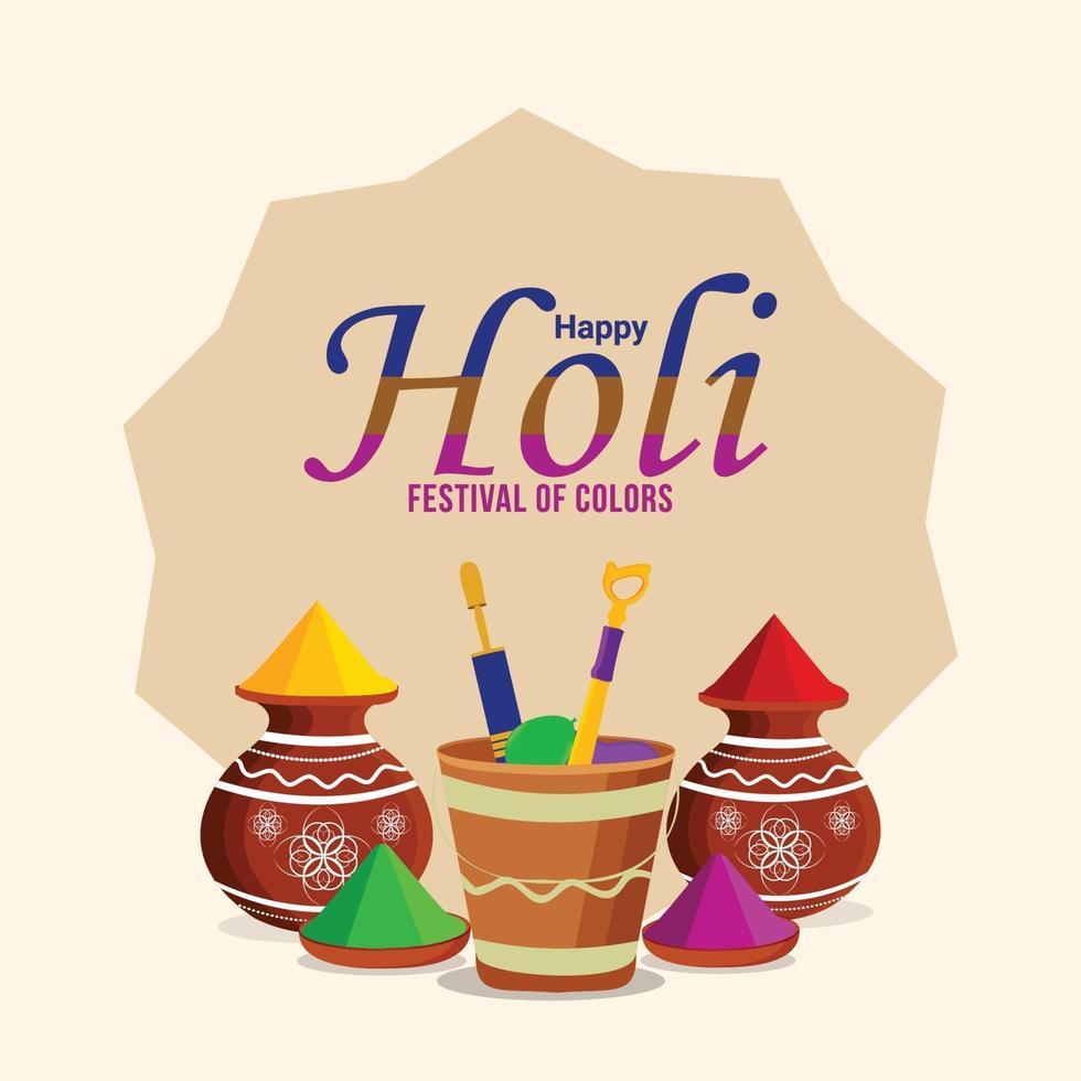 Happy Holi Hindu Festival mit Farbeimer und Farbpistole vektor
