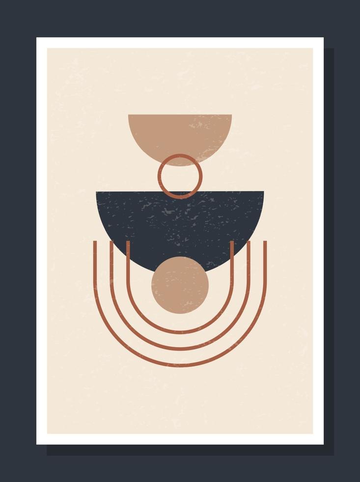 minimalistisk geometrisk vektorkonst vägg affisch. minimal 20-tals geometriska abstrakt samtida affischer vektor mall boho primitiva former element perfekt för väggdekoration modern hipster stil