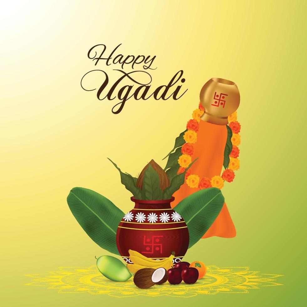 Gudi Padwa Feier Hintergrund mit traditionellem Topf vektor
