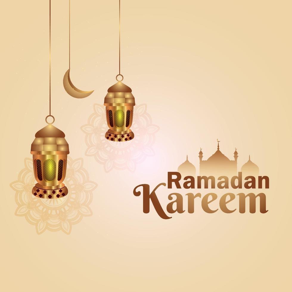 ramadan kareem islamisk bakgrund med islamisk lykta vektor