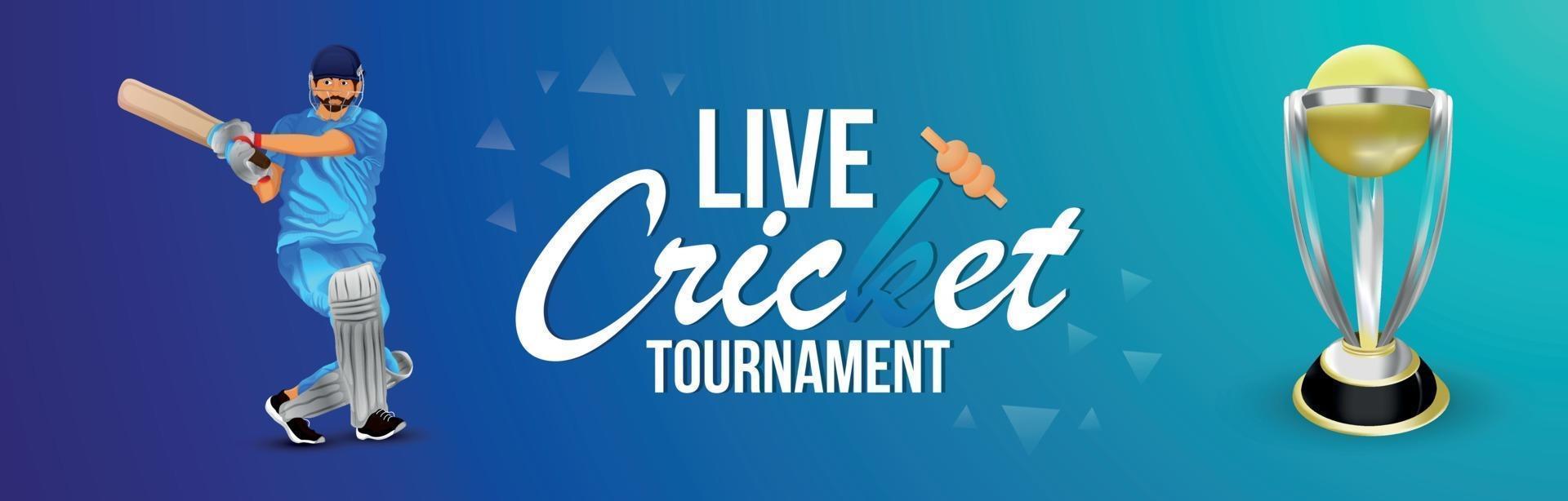 Cricket-Turnier-Match-Banner mit Stadionhintergrund vektor