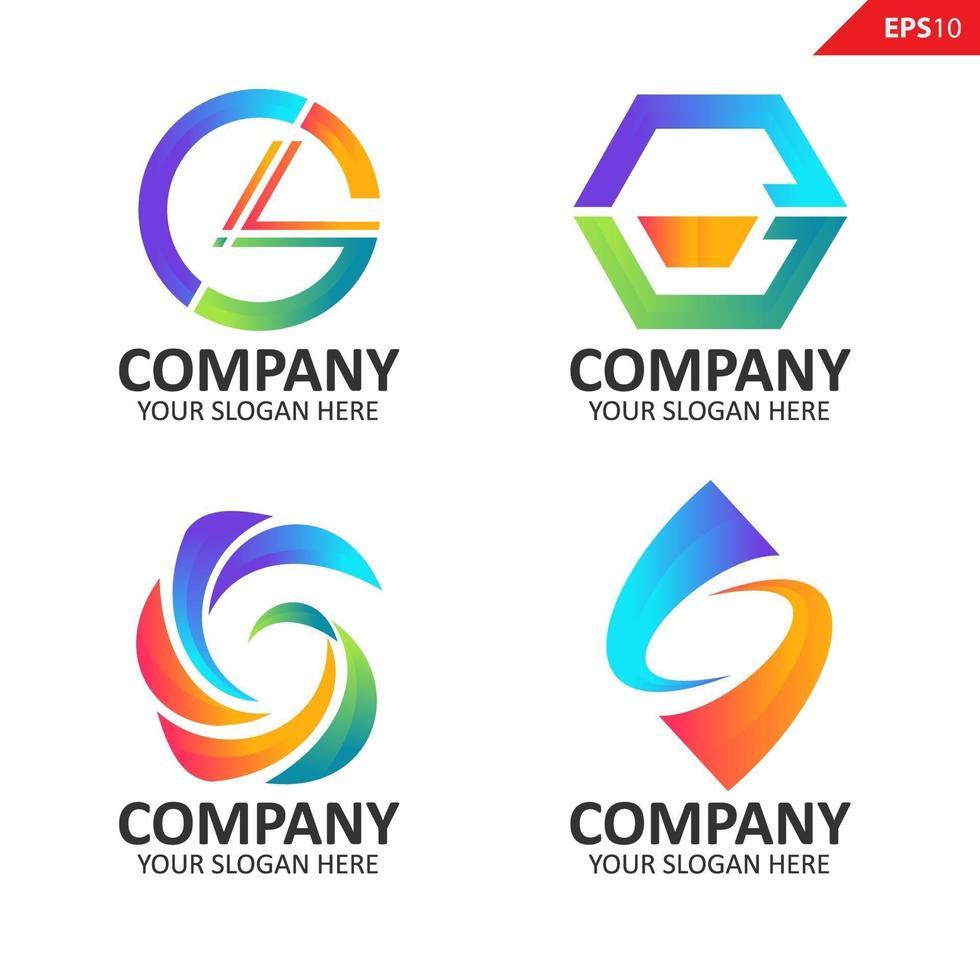 samling färgglada initial g brevlogotyp formgivningsmall vektor