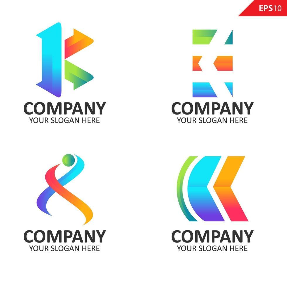 samling färgglada initial k brev logotyp formgivningsmall vektor
