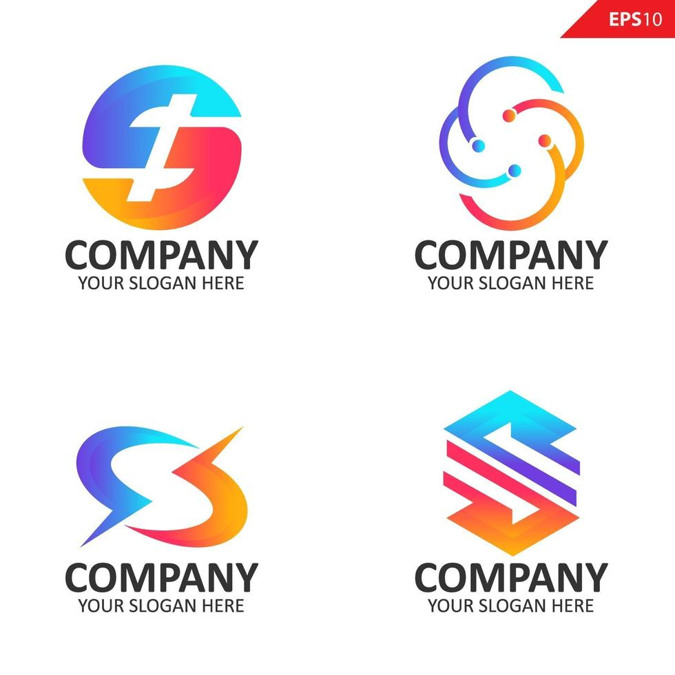 samling färgglada initial s brev logotyp formgivningsmall vektor