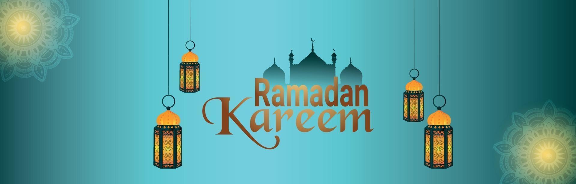 glad ramadan kareem-banner eller rubrik vektor