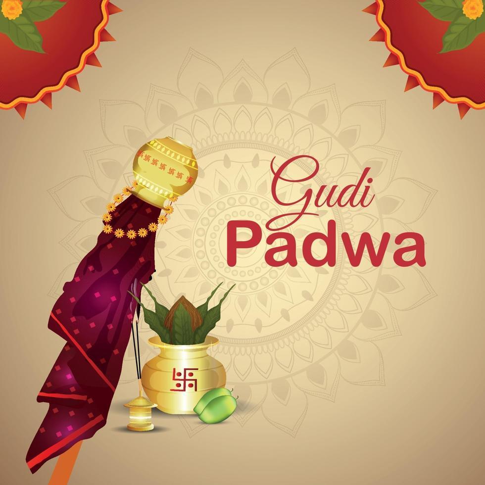 realistisches Gudi Padwa Festival und abstrakter Hintergrund vektor