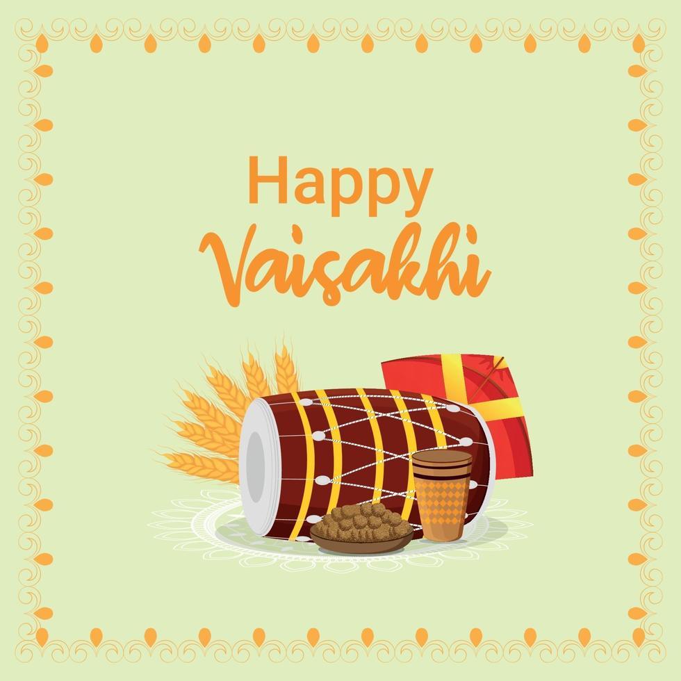 platt design glad vaisakhi sikh festival och bakgrund vektor
