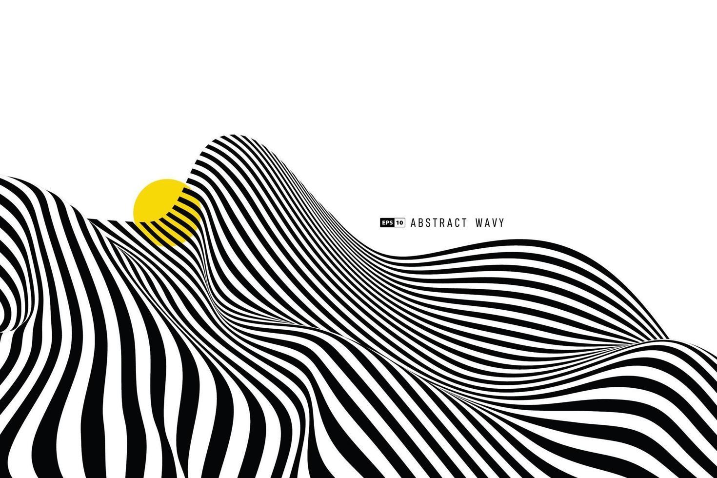 abstrakt svartvitt rand vågig linje av snedvridning dekorera täcka bakgrund. illustration vektor eps10