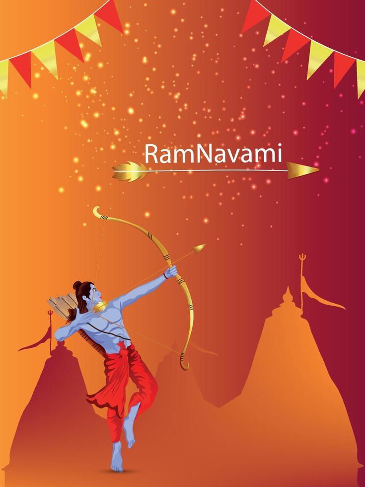 glad ram navami banner eller affisch med illustration av lord rama vektor