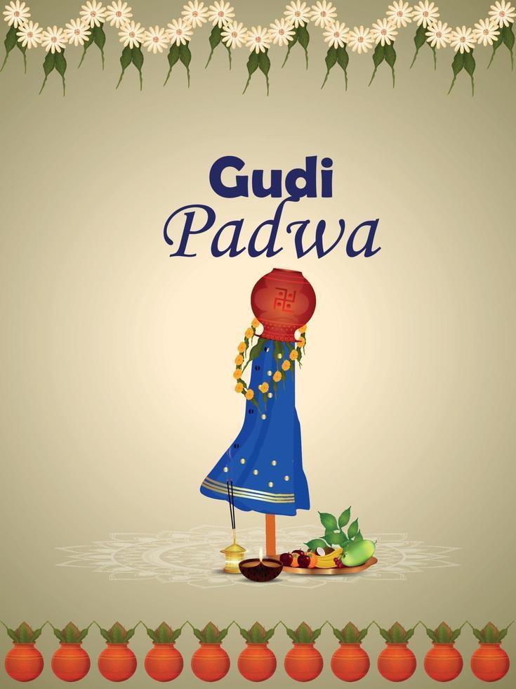 gudi padwa sydindisk festivalbakgrund vektor