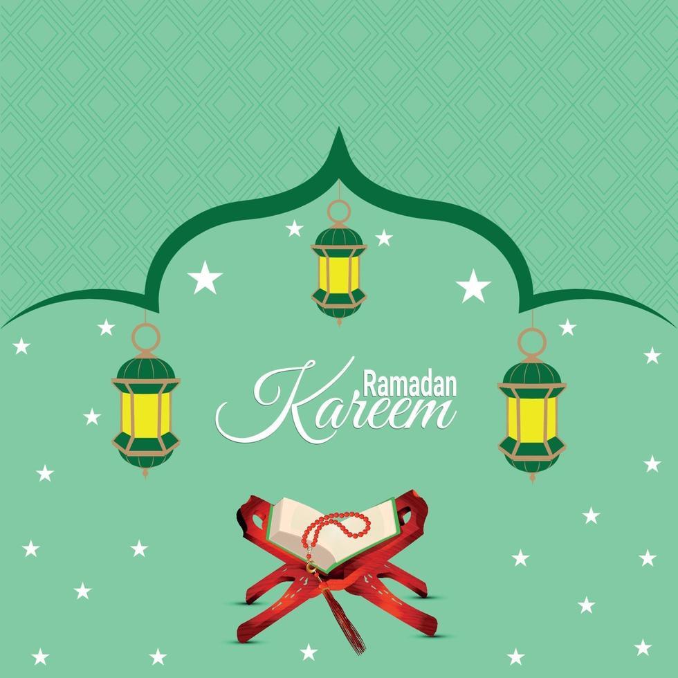 ramadan kareem eller eid mubarak platt gratulationskort vektor