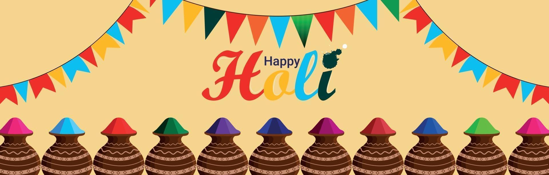 glad holi firande banner med färgstarka bakgrund och illustration vektor