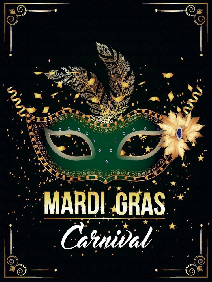 gyllene och gröna mask för karnevalsfest vektor