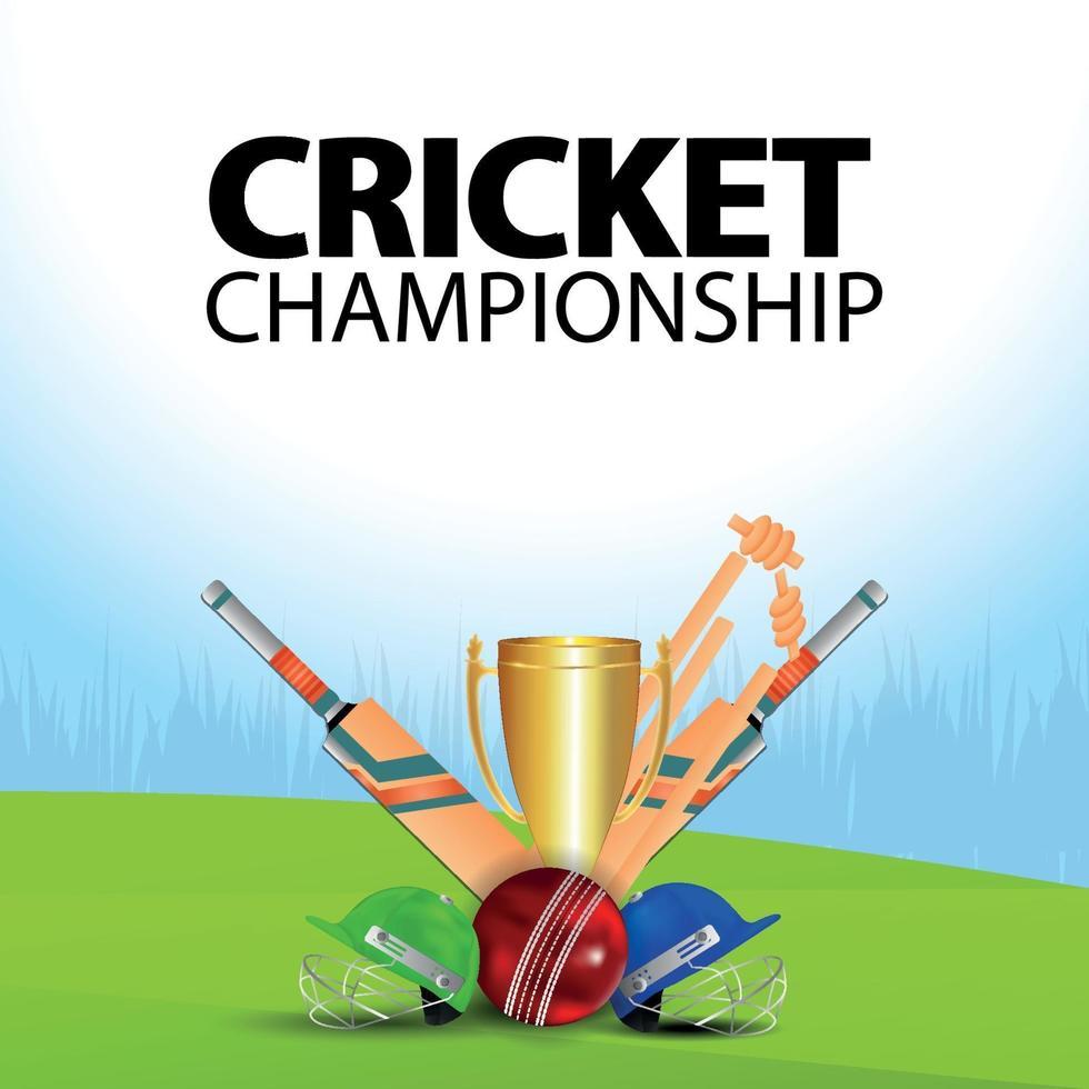 Cricket-Meisterschaftsillustration mit Cricketausrüstung vektor