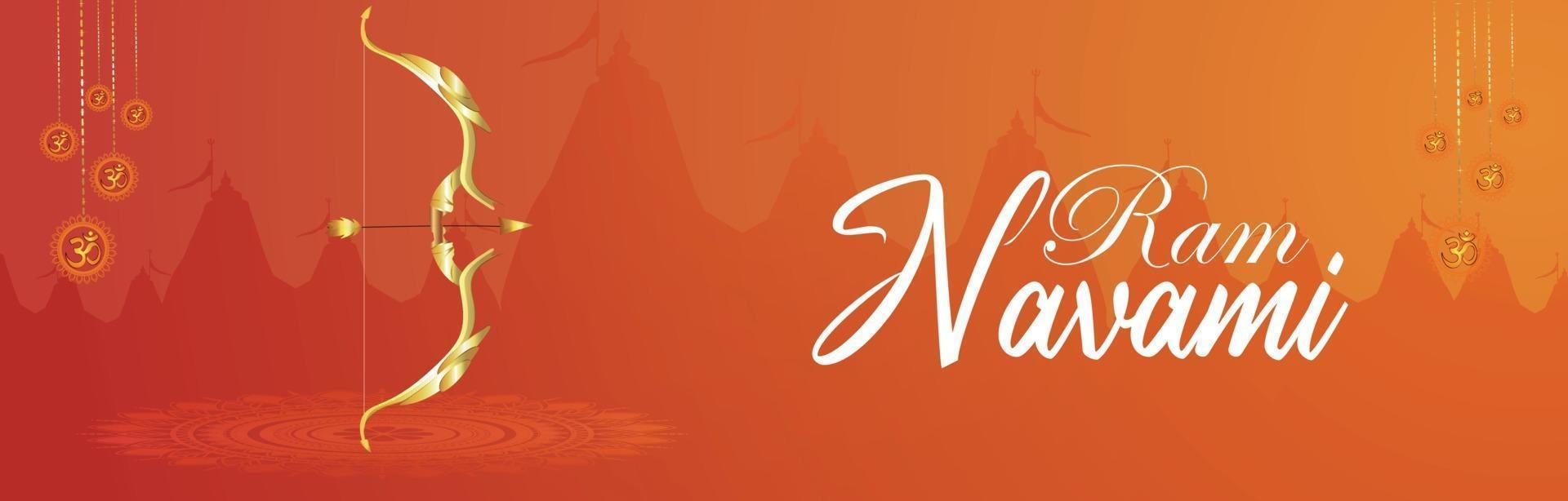 kreativ banner av lycklig ram navami med kreativ illustration vektor