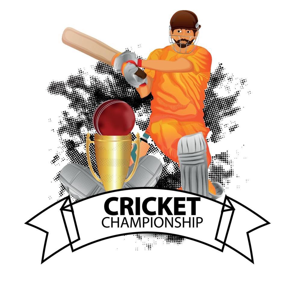 cricket turnering match koncept med stadion och cricket utrustning vektor