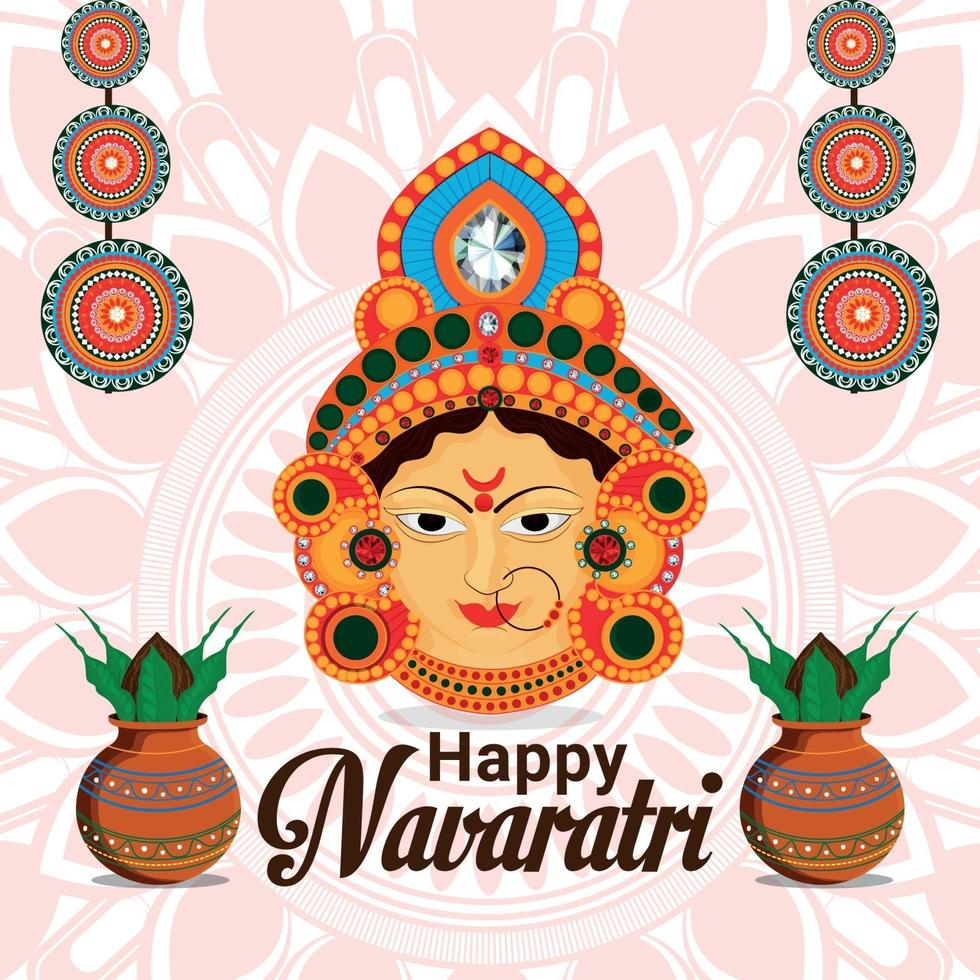 glad shivratri firande bakgrund med gudinna durga ansikte bakgrund vektor