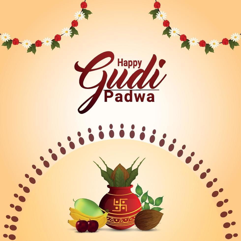 gratulationskort för gudi padwa firande med traditionell kalash vektor