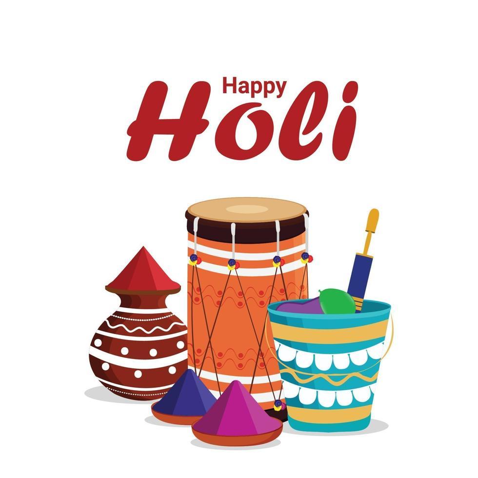 Happy Holi buntes Festival mit Gulal Schlammtopf und Schüssel vektor