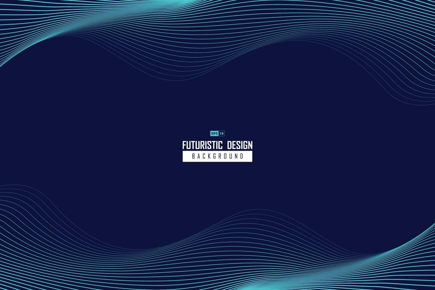 abstrakt vågig blå linje design av teknik mönster rörelse bakgrund. illustration vektor eps10